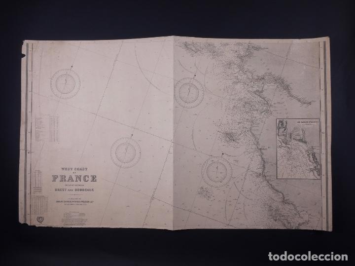 Líneas de navegación: CARTA NAUTICA FRANCE (TRES HOJAS), BREST AND BORDEAUX, 1929 - Foto 4 - 111788519