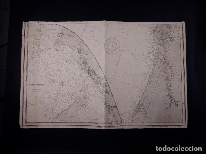 Líneas de navegación: CARTA NAUTICA FRANCE (TRES HOJAS), BREST AND BORDEAUX, 1929 - Foto 5 - 111788519