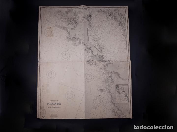 Líneas de navegación: CARTA NAUTICA FRANCE (TRES HOJAS), BREST AND BORDEAUX, 1929 - Foto 6 - 111788519