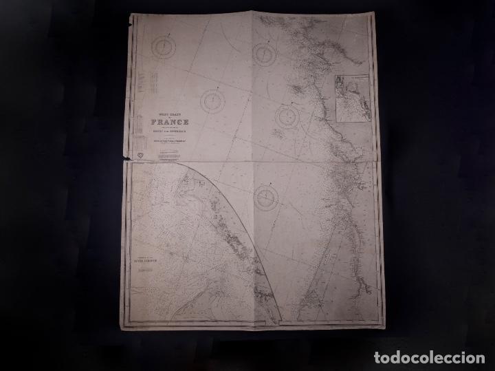 Líneas de navegación: CARTA NAUTICA FRANCE (TRES HOJAS), BREST AND BORDEAUX, 1929 - Foto 7 - 111788519