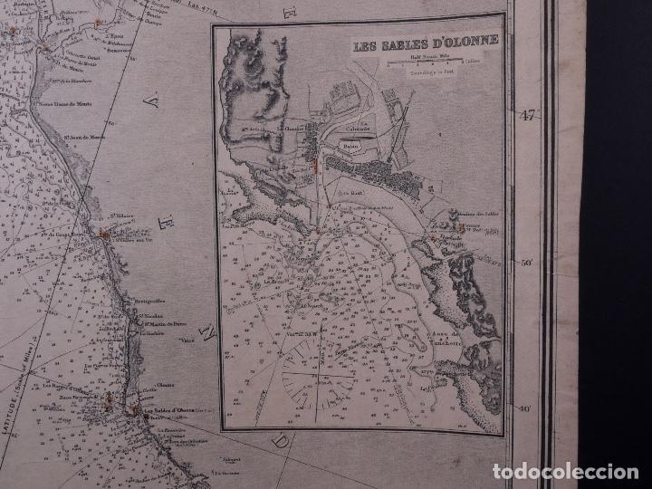 Líneas de navegación: CARTA NAUTICA FRANCE (TRES HOJAS), BREST AND BORDEAUX, 1929 - Foto 8 - 111788519