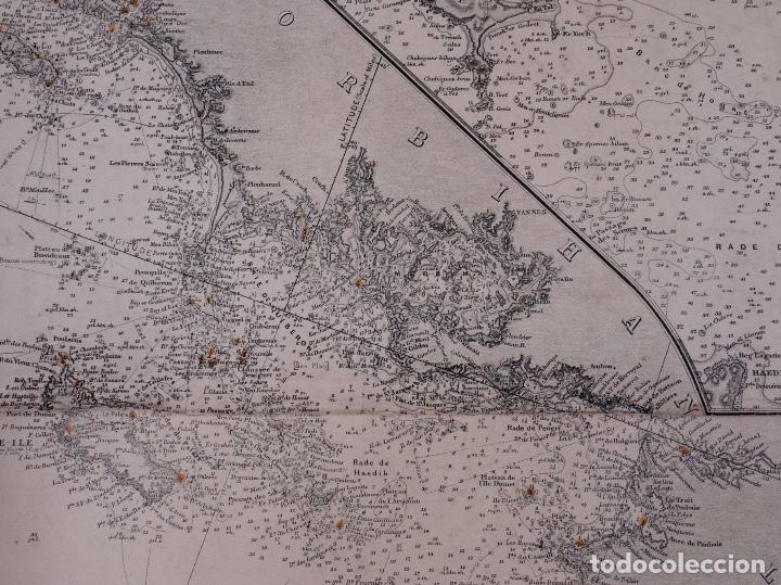 Líneas de navegación: CARTA NAUTICA FRANCE (TRES HOJAS), BREST AND BORDEAUX, 1929 - Foto 9 - 111788519