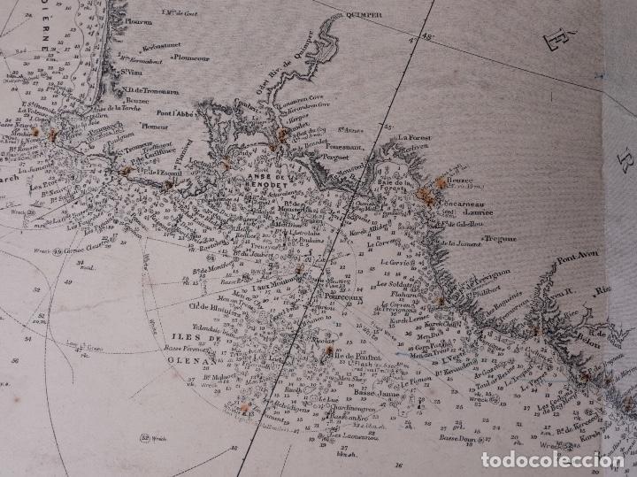 Líneas de navegación: CARTA NAUTICA FRANCE (TRES HOJAS), BREST AND BORDEAUX, 1929 - Foto 10 - 111788519