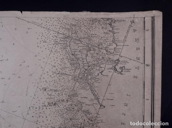 Líneas de navegación: CARTA NAUTICA FRANCE (TRES HOJAS), BREST AND BORDEAUX, 1929 - Foto 11 - 111788519