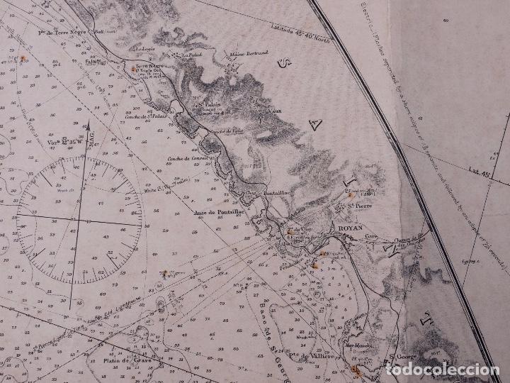 Líneas de navegación: CARTA NAUTICA FRANCE (TRES HOJAS), BREST AND BORDEAUX, 1929 - Foto 12 - 111788519