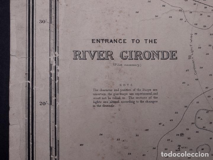 Líneas de navegación: CARTA NAUTICA FRANCE (TRES HOJAS), BREST AND BORDEAUX, 1929 - Foto 13 - 111788519