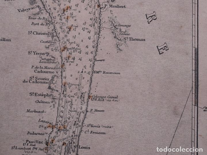 Líneas de navegación: CARTA NAUTICA FRANCE (TRES HOJAS), BREST AND BORDEAUX, 1929 - Foto 14 - 111788519