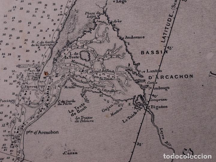 Líneas de navegación: CARTA NAUTICA FRANCE (TRES HOJAS), BREST AND BORDEAUX, 1929 - Foto 15 - 111788519