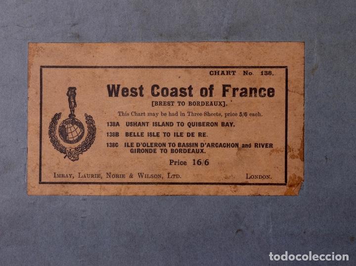 Líneas de navegación: CARTA NAUTICA FRANCE (TRES HOJAS), BREST AND BORDEAUX, 1929 - Foto 16 - 111788519