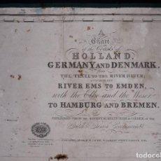 Líneas de navegación: CARTA NAUTICA HOLLAND, RIVER EMS TO EMDEN TO HAMBURG AND BREMEN, 1849. Lote 111789111