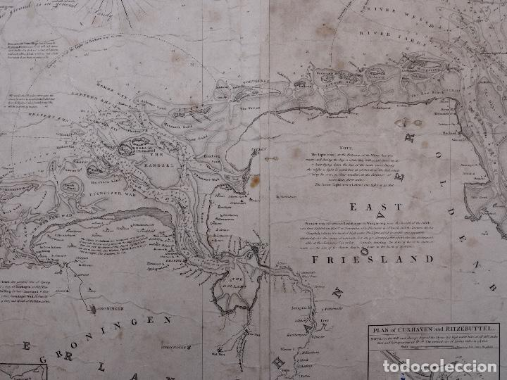 Líneas de navegación: CARTA NAUTICA HOLLAND, RIVER EMS TO EMDEN TO HAMBURG AND BREMEN, 1849 - Foto 5 - 111789111