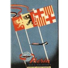 Líneas de navegación: IBERIA, MAPA-FOLLETO DE LA RUTA BARCELONA-GINEBRA-FRANKFURT. Lote 114303879