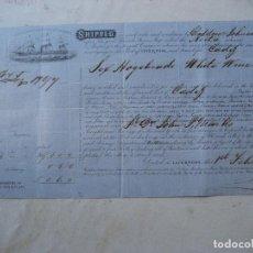 Líneas de navegación: CONOCIMIENTO DE EMBARQUE.1869. LIVERPOOL A CADIZ. VAPOR NIETA. Lote 115544531