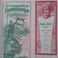 Líneas de navegación: COMPAÑIA HAMBURGUESA SUD AMERICANA Y HAMBURG AMERIKA LINIE SERVICIO VAPORES BILBAO HOJA AÑO 1905. Lote 125963618