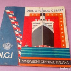 Líneas de navegación: CATÁLOGO NGI NAVIGAZIONE GENERALE ITALIANA.LAS TERCERAS CLASES.DUILIO-GIULIO CESARE.EN ESPAÑOL.. Lote 116229591