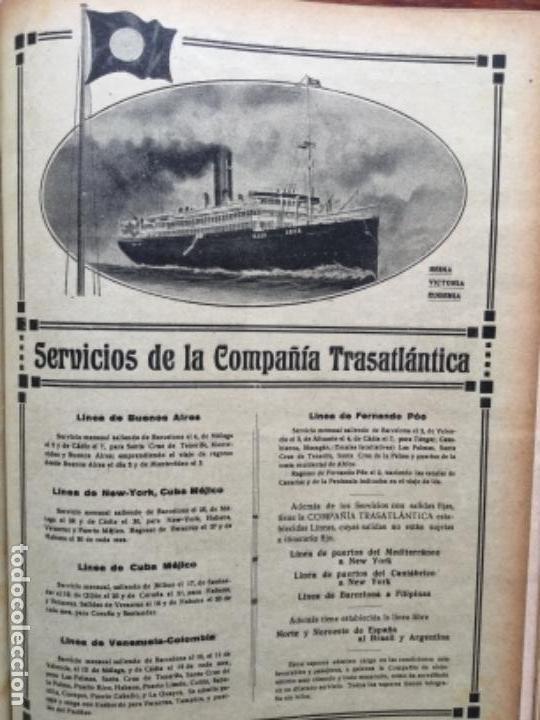 SERVICIOS DE LA COMPAÑIA TRASATLANTICA REINA VICTORIA EUGENIA HOJA REVISTA AÑO 1919 (Coleccionismo - Líneas de Navegación)