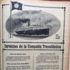 Líneas de navegación: SERVICIOS DE LA COMPAÑIA TRASATLANTICA REINA VICTORIA EUGENIA HOJA REVISTA AÑO 1919. Lote 116343043