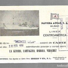 Líneas de navegación: NAVIERA AZNAR. BILBAO. LINEA CENTROAMERICA. TARJETA DE SALIDA DE BARCO. MONTE ULIA. 1958. Lote 116499383