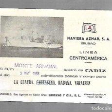 Líneas de navegación: NAVIERA AZNAR. BILBAO. LINEA CENTROAMERICA. TARJETA DE SALIDA DE BARCO. MONTE ARNABAL. 1958. Lote 116499411