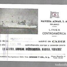 Líneas de navegación: NAVIERA AZNAR. BILBAO. LINEA CENTROAMERICA. TARJETA DE SALIDA DE BARCO. MONTE ULIA. 1955. Lote 116499427
