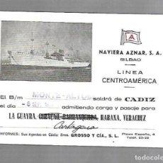 Líneas de navegación: NAVIERA AZNAR. BILBAO. LINEA CENTROAMERICA. TARJETA DE SALIDA DE BARCO. MONTE ALTUBE. 1955. Lote 116499483