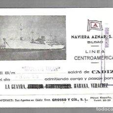 Líneas de navegación: NAVIERA AZNAR. BILBAO. LINEA CENTROAMERICA. TARJETA DE SALIDA DE BARCO. MONTE ULIA. 1955. Lote 116499503