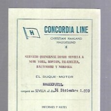 Líneas de navegación: CONCORDIA LINE. TARJETA DE AVISO DE SALIDA DE BARCO. 1959. BUQUE MAAKEFJELL. Lote 116512639