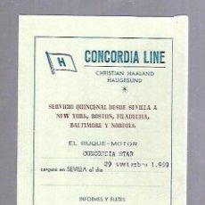 Líneas de navegación: CONCORDIA LINE. TARJETA DE AVISO DE SALIDA DE BARCO. 1959. BUQUE CONCORDIA STAR. Lote 116512739