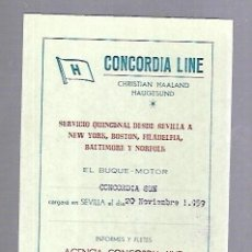 Líneas de navegación: CONCORDIA LINE. TARJETA DE AVISO DE SALIDA DE BARCO. 1959. BUQUE CONCORDIA SUN. Lote 116512891