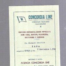 Líneas de navegación: CONCORDIA LINE. TARJETA DE AVISO DE SALIDA DE BARCO. 1959. BUQUE TANA. Lote 116512907