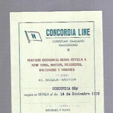 Líneas de navegación: CONCORDIA LINE. TARJETA DE AVISO DE SALIDA DE BARCO. 1959. BUQUE CONCORDIA SKY. Lote 116513155