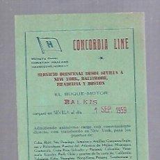 Líneas de navegación: CONCORDIA LINE. TARJETA DE AVISO DE SALIDA DE BARCO. 1959. BUQUE BALKIS. Lote 116513187