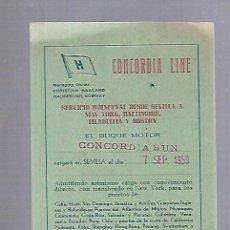 Líneas de navegación: CONCORDIA LINE. TARJETA DE AVISO DE SALIDA DE BARCO. 1959. BUQUE CONCORDIA SUN. Lote 116513459