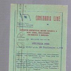 Líneas de navegación: CONCORDIA LINE. TARJETA DE AVISO DE SALIDA DE BARCO. 1959. BUQUE CONCORDIA STAR. Lote 116513739