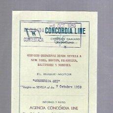 Líneas de navegación: CONCORDIA LINE. TARJETA DE AVISO DE SALIDA DE BARCO. 1959. BUQUE CONCORDIA SKY. Lote 116513759