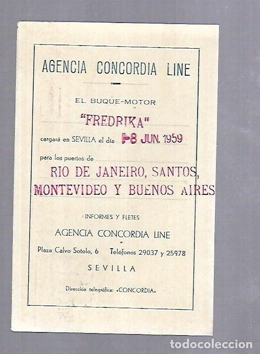 CONCORDIA LINE. TARJETA DE AVISO DE SALIDA DE BARCO. 1959. BUQUE FREDIKA (Coleccionismo - Líneas de Navegación)