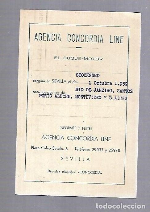 CONCORDIA LINE. TARJETA DE AVISO DE SALIDA DE BARCO. 1959. BUQUE STOCKSUND (Coleccionismo - Líneas de Navegación)
