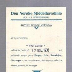 Líneas de navegación: DEN NORSKE MIDDELHAVSLINJE. TARJETA DE AVISO DE SALIDA DE BARCO. 1935. VAPOR SAN LUCAR. Lote 116513891