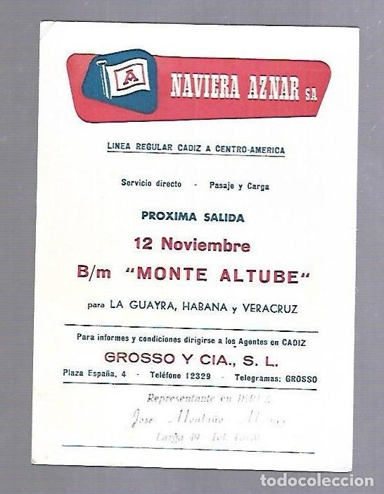 NAVIERA AZNAR. TARJETA DE AVISO DE SALIDA DE BARCO. BUQUE MONTE ALTUBE (Coleccionismo - Líneas de Navegación)