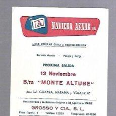 Líneas de navegación: NAVIERA AZNAR. TARJETA DE AVISO DE SALIDA DE BARCO. BUQUE MONTE ALTUBE. Lote 116513955