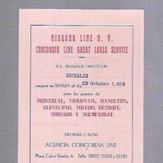 Líneas de navegación: CONCORDIA LINE. TARJETA DE AVISO DE SALIDA DE BARCO. 1959. BUQUE BOREALIS. Lote 116514119
