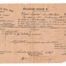 Líneas de navegación: CÁDIZ 1887 CONOCIMIENTO DE EMBARQUE BOTELLAS DE VINO CON DESTINO A SANTANDER.. Lote 117030879