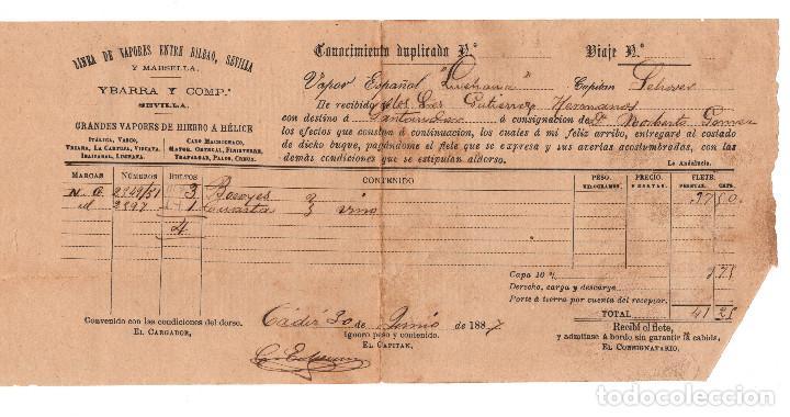 CÁDIZ 1887 CONOCIMIENTO DE EMBARQUE BOTELLAS DE VINO CON DESTINO A SANTANDER. (Coleccionismo - Líneas de Navegación)