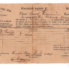 Líneas de navegación: CÁDIZ 1887 CONOCIMIENTO DE EMBARQUE BOTELLAS DE VINO CON DESTINO A SANTANDER.. Lote 117033695