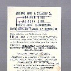 Líneas de navegación: DANIEL MAC-PHERSON & CO. CADIZ. TARJETA AVISO DE SALIDA DE BARCO. 1952.. Lote 117092911
