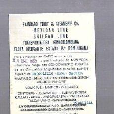 Líneas de navegación: DANIEL MAC-PHERSON & CO. CADIZ. TARJETA AVISO DE SALIDA DE BARCO. 1952.. Lote 117093735