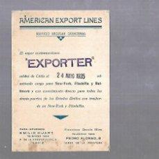Líneas de navegación: AMERICAN ESPORT LINES. CADIZ. TARJETA AVISO DE SALIDA DE BARCO. 1935. EXMOUTH. Lote 117093883