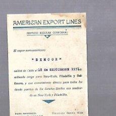 Líneas de navegación: AMERICAN ESPORT LINES. CADIZ. TARJETA AVISO DE SALIDA DE BARCO. 1937. EXMOOR. Lote 117093999