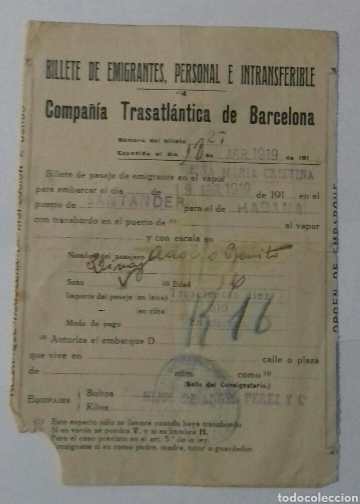 COMPAÑIA TRASATLANTICA DE BARCELONA 1919. BILLETE (Coleccionismo - Líneas de Navegación)