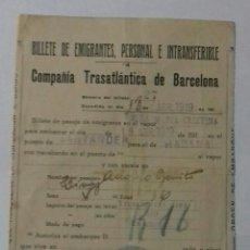 Líneas de navegación: COMPAÑIA TRASATLANTICA DE BARCELONA 1919. BILLETE. Lote 117251808